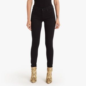 MOTHER 28 High Waisted Looker Skinny Black